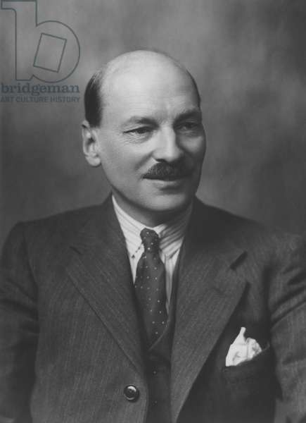 Clement Attlee (1883-1967), British Prime Minister (1945-51), 1945 (b&w photo)