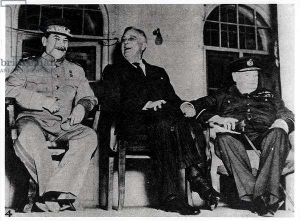 Josef Stalin (1879-1953) Franklin D.Roosevelt (1882-1945) and Winston Churchill (1874-1965) at Tehran, 11th December 1943 (b/w photo)