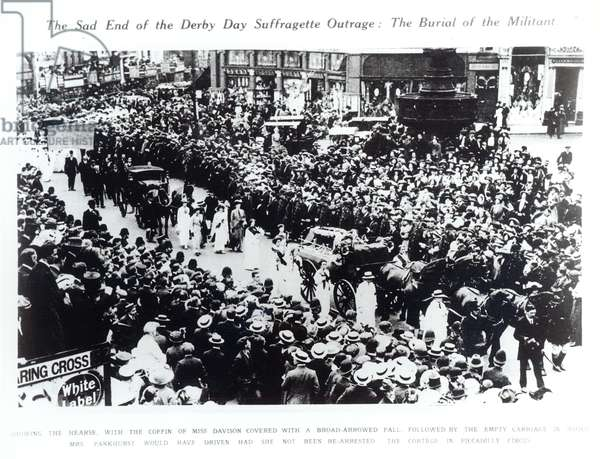 The Funeral Cortege of Miss Emily Davison in Piccadilly Circus, 1913 (b/w photo)
