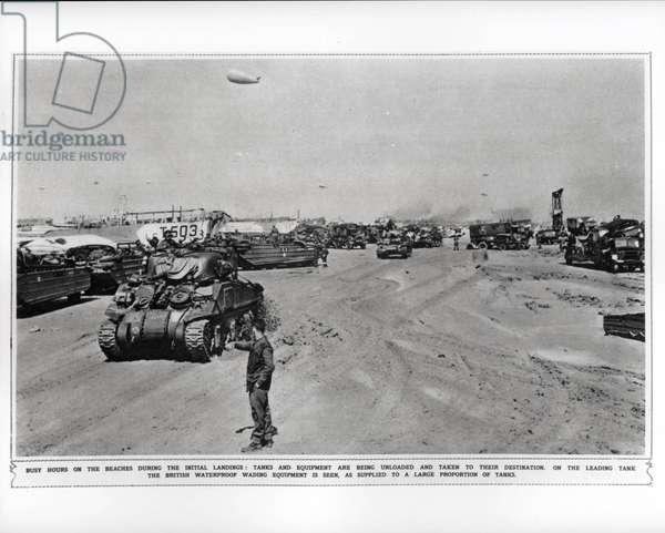 Busy hours on the beaches during the initial landings, 1944 (b/w photo)