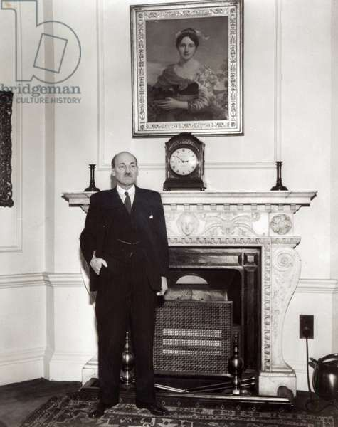 Clement Attlee (1883-1967), British Prime Minister (1945-51) (b&w photo)