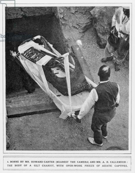 The removal of a gilt chariot from the tomb of Tutankhamun, by Howard Carter (1874-1939) and Mr A. R. Callender (b/w photo)