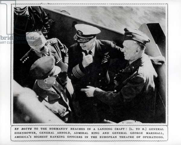 LtoR General Dwight Eisenhower (1890-1969) General Henry Arnold (1886-1950) Admiral Ernest King (1878-1956) and General George Marshall (1880-1959) 1944 (b/w photo)