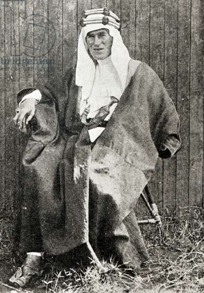 T. E. Lawrence in full Arab dress, 1919 (b/w photo)