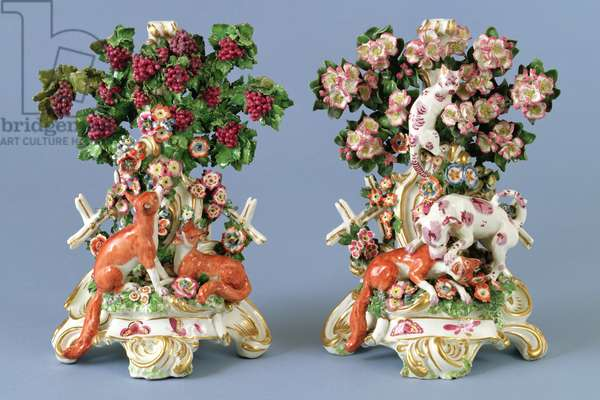 Fable candlesticks, Chelsea porcelain factory, c.1765 (soft-paste porcelain, polychrome enamels & gilding)