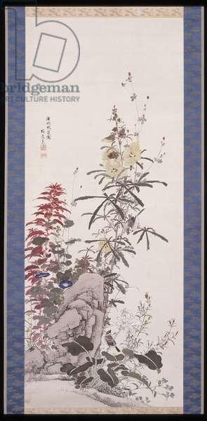 Beauteous Flowers: the Ten Friends, 1850 (ink & colour on silk)