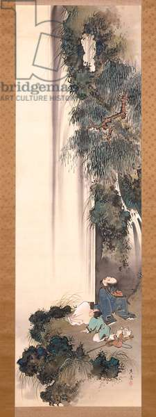 Li Bai Gazing At A Waterfall (ink and colour on silk)