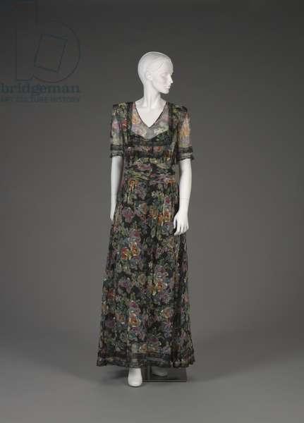 Dress, 1930s-40s (silk chiffon, nylon net & lace)