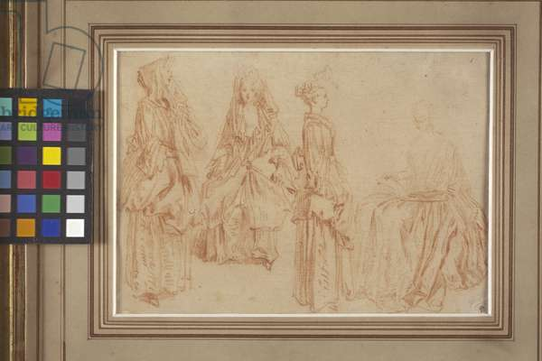 Four Ladies (red chalk (sanguine) on paper)