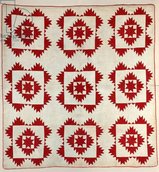 Quilt; 'Delectable Mountains' (cotton, appliquéd, pieced)