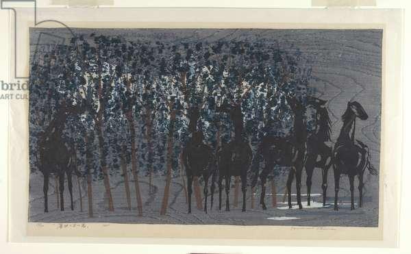 Horses in Twilight, 1965 (colour woodblock print)