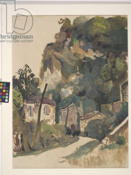 Cliff And Road, Village Of Vers (oil and gouache on off-white paper)