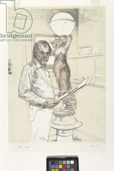 The Print Dealer And His Lamp (colour lithograph)