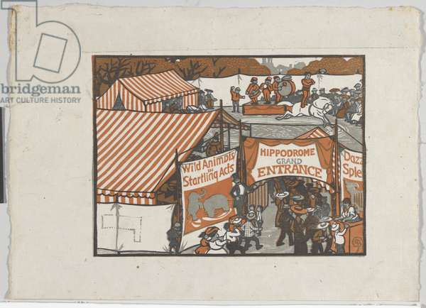 The Country Circus, 1909 (colour woodblock print on paper)