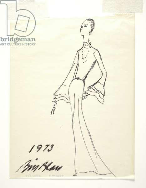 Sketch of an evening dress, 1973 (marker on paper)