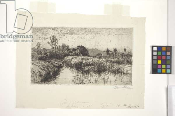 Afternoon In March, Schleissheim, Bavaria (etching)