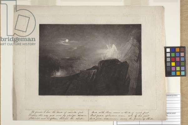 The Angels Guarding Paradise At Night (mezzotint)