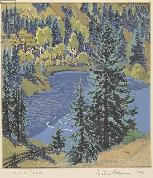 Estes Park, Colorado, 1930 (tempera over graphite on paper)