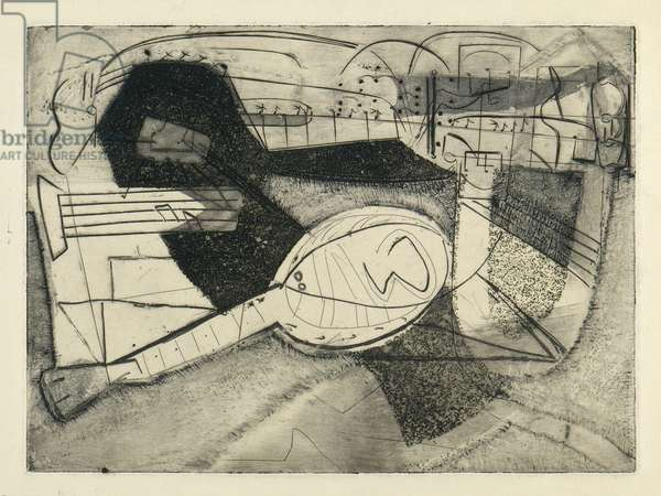 Piano Music by Evan Envissen, 1948 (etching & engraving with aquatint)