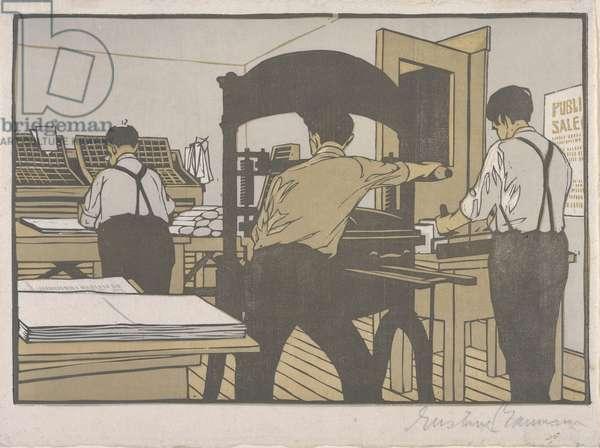 The Print Shop, 1910 (colour woodblock print)