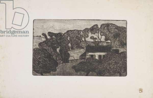 Ferme entouree d'arbres (Farm surrounded by trees) 1893 (etching)