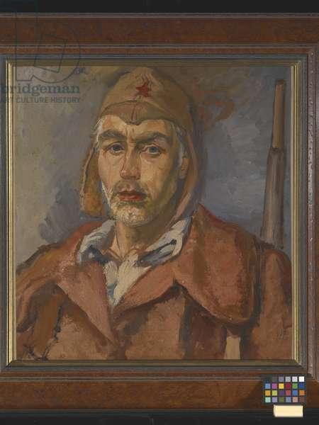 Self-Portrait As Republican Militiaman, Spanish Civil War (oil on wood)
