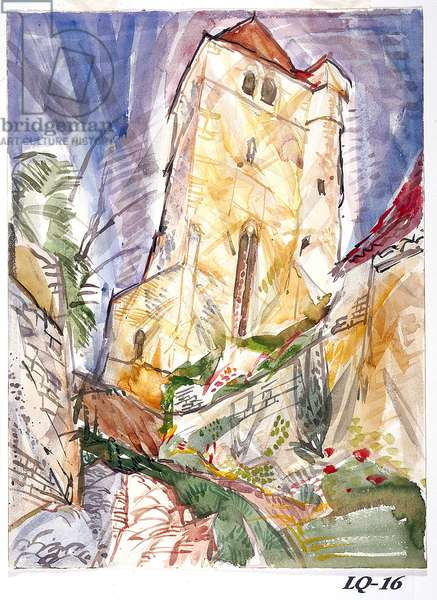 Up To The Church, St. Cirq Lapopie (watercolour on white paper)