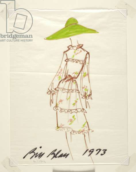 Sketch of a dress with hat, 1973 (marker on paper)