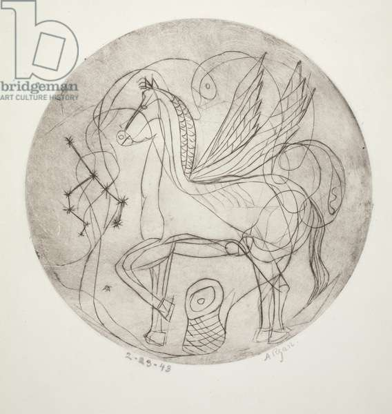 Pegasus, 1943 (drypoint on off-white wove paper)
