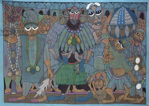 King and His Subjects in Ritual Festival, 1995 (painted cloth)