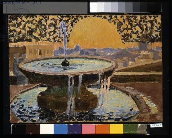 Fountain At The Villa Medici (oil on layered cardboard)