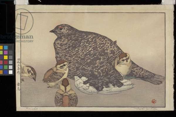 Raich? (Japanese Rock Ptarmigan) (colour woodblock print)