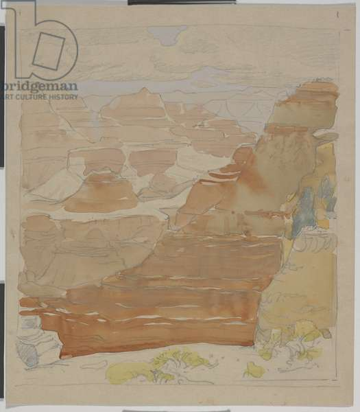 Grand Canyon, c.1921 (graphite with w/c on paper)