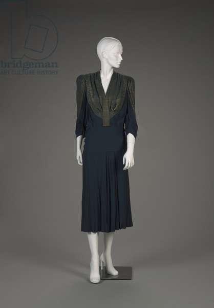 Dress, early 1940s (silk crepe)