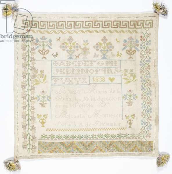 Sampler (cotton, linen)
