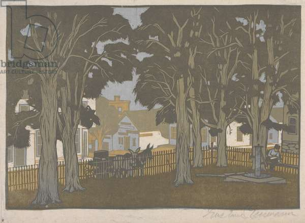 Court House Yard, 1910 (colour woodblock print)