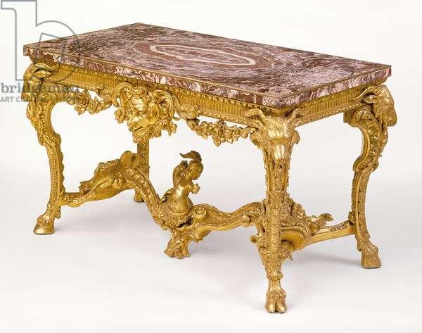 Gilded Pine Side Table (gilded pine, brass, marble veneer)