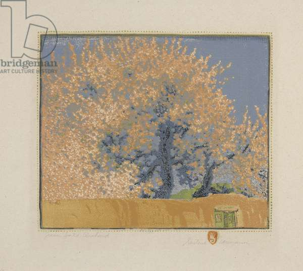 Green Gate Orchard, 1923 (colour woodblock print on paper)