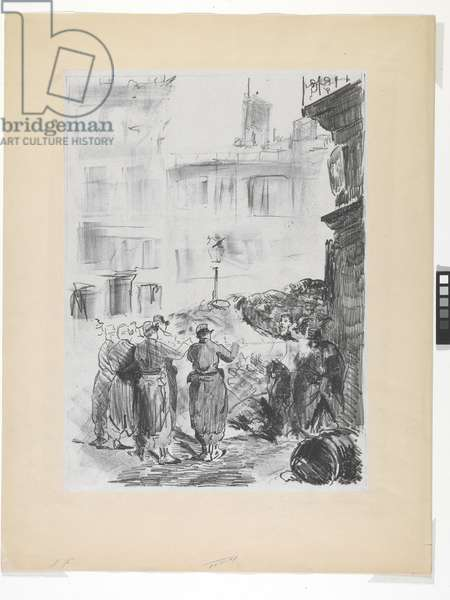 La Barricade (lithograph on chine colle)