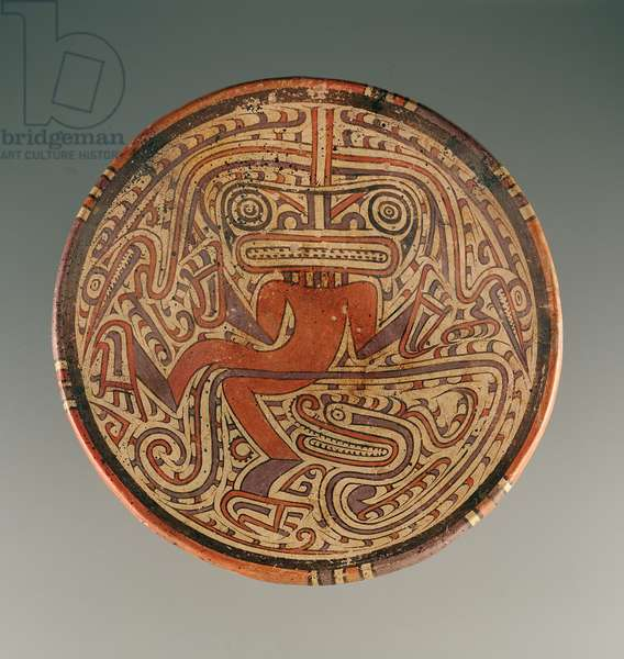 Pedestal plate with reptile-human figure, Cocle culture, 600-800 AD (ceramic) (see also 232788)