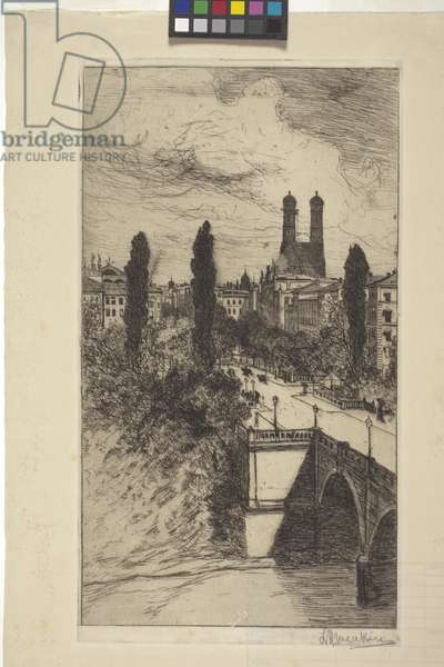 Maximiliam Street And Frauenkirche, Munich, Bavaria (etching)