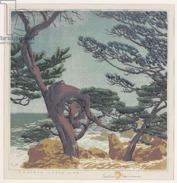 Pacific Shoreline, 1948 (colour woodblock print)