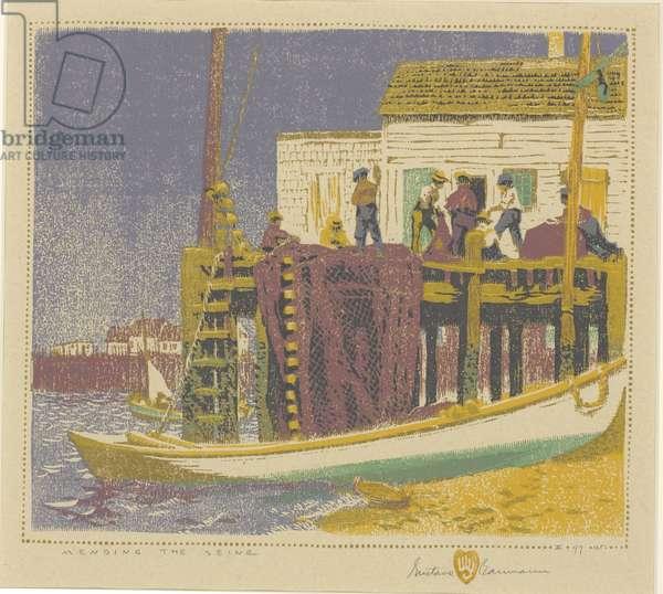 Mending the Seine, 1917 (colour woodblock print)