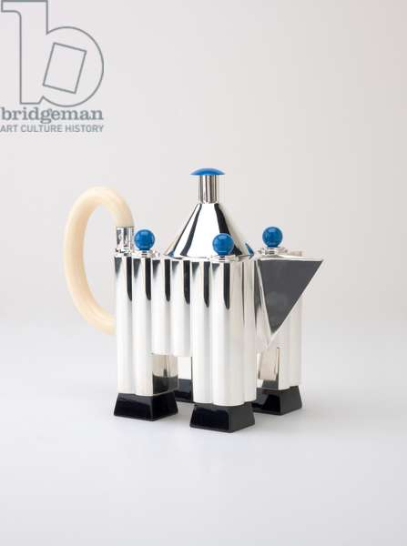Tea & Coffee Piazza Service tea pot and lid, 1980-1984 (925/1000 silver, lacquered aluminum, mock ivory, and Bakelite)