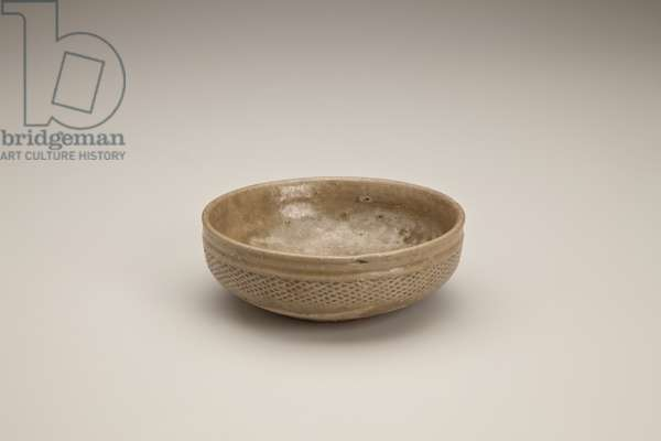 Bowl (grey stoneware, olive green glaze)