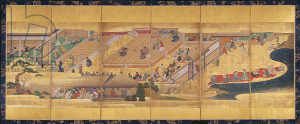 Six fold screen with the Noh Play Funa-Benkei, c.1660 (colour, gofun & ink & gold on paper)