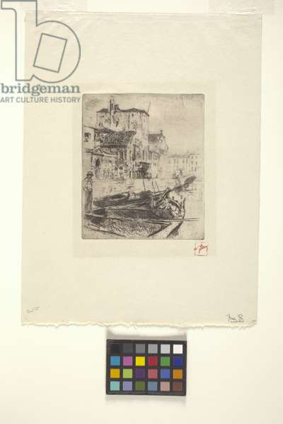 Barge On Venetian Canal (etching)