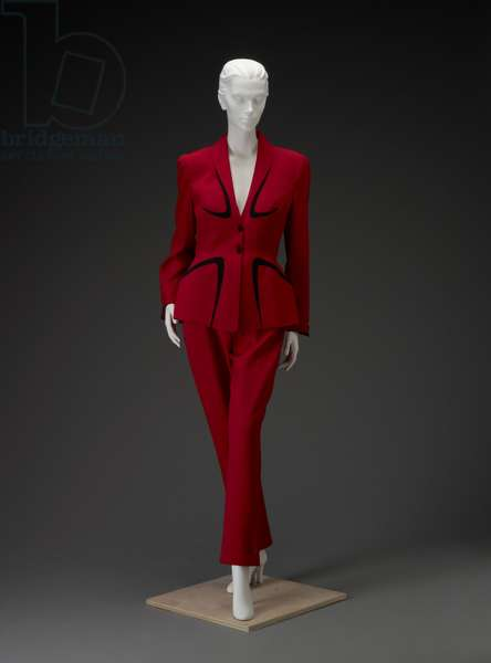 Pantsuit, late 1980s-early 1990s (worsted wool, synthetic suede, acetate, metal & urethane foam)