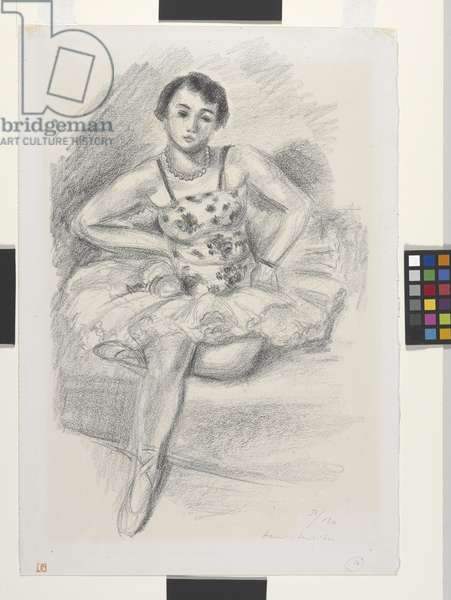 Seated Dancer, Left Leg Folded Under, 1927 (litho)