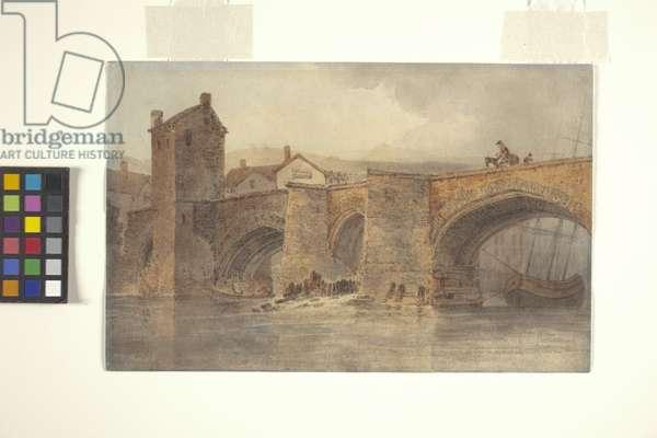 Chester Bridge (watercolour over pencil on off-white wove paper)